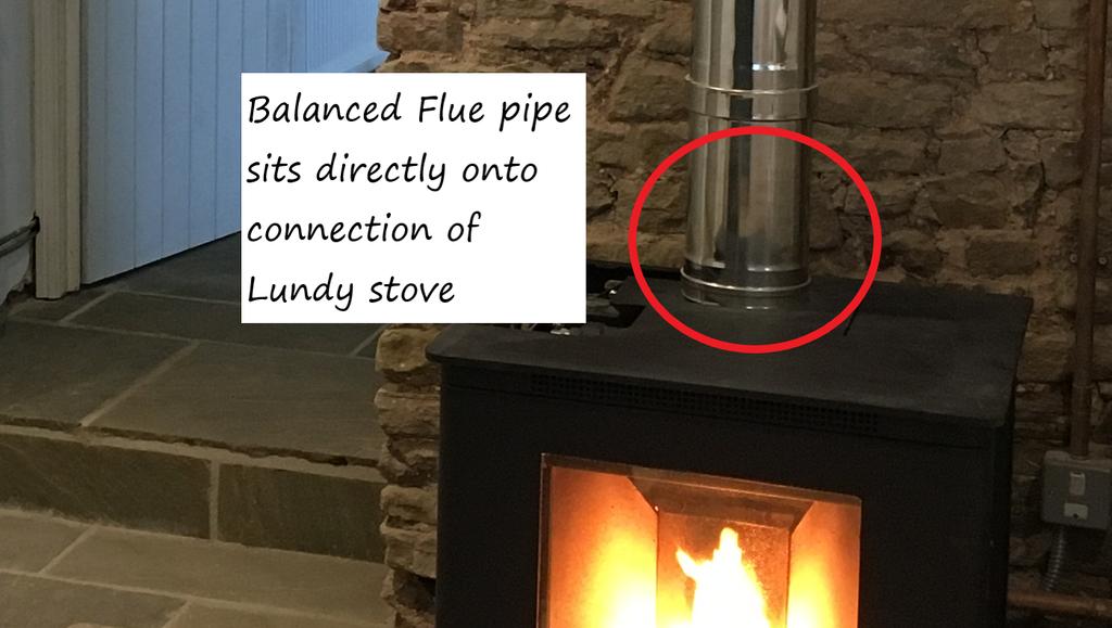 Balanced flue wood pellet stove